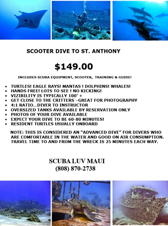 Maui Scooter Diving - St  Anthony Wreck Dive, Maui Wreck